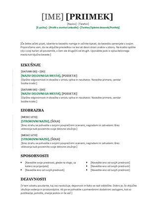 Kronološki življenjepis (sodobna oblika)