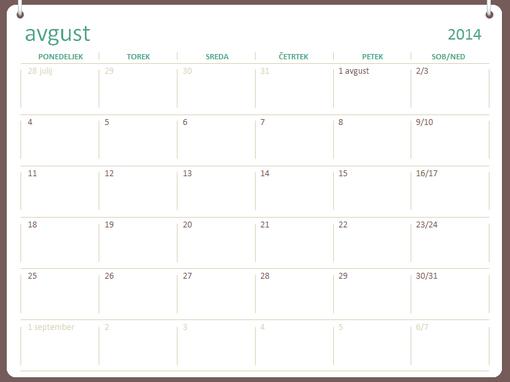 Šolsko leto 2014–2015 (avgust–julij)