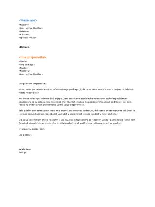 Spremno pismo s formalnim življenjepisom (ustreza formalnemu življenjepisu)