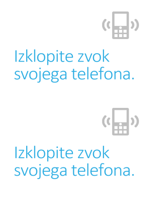 Plakat, ki opozarja na izklop mobilnih telefonov
