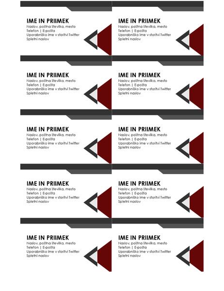 Poslovne vizitke z dizajnom sodobnih kotov
