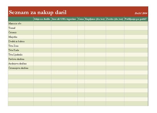 Seznam za nakup daril