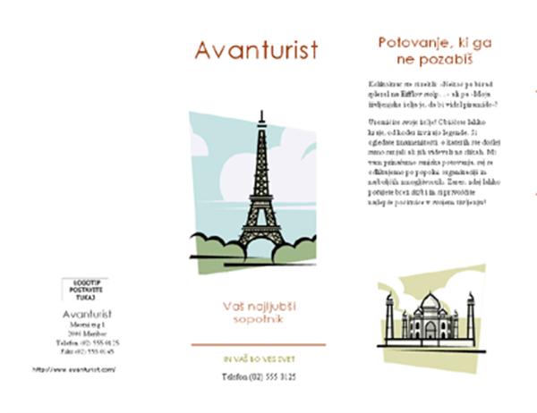 Turistični prospekt (8 1/2 x 14, ležeče, zloženka)