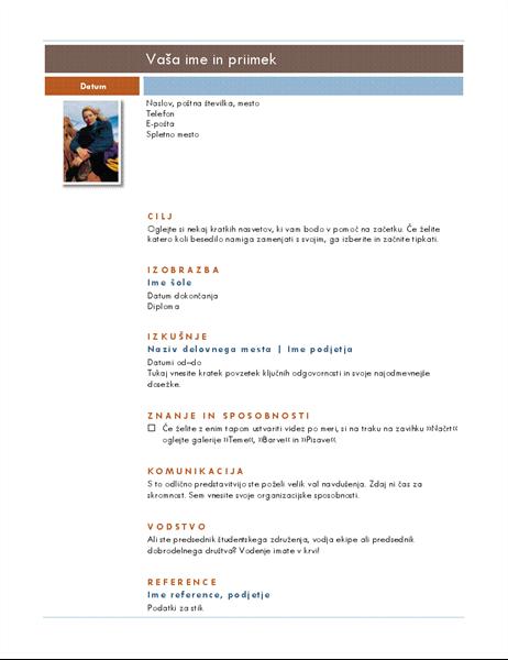 Življenjepis s fotografijo (tema Median)