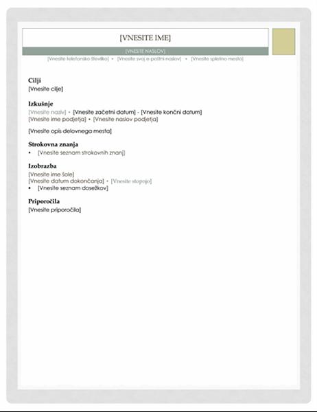 Življenjepis (oblika »Lekarnar«)