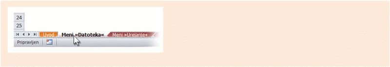 Excel 2010: Delovni zvezek, v katerem so navedena mesta starih menijskih ukazov na traku