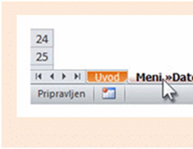 InfoPath 2010: Delovni zvezek, v katerem so navedena mesta starih menijskih ukazov na traku