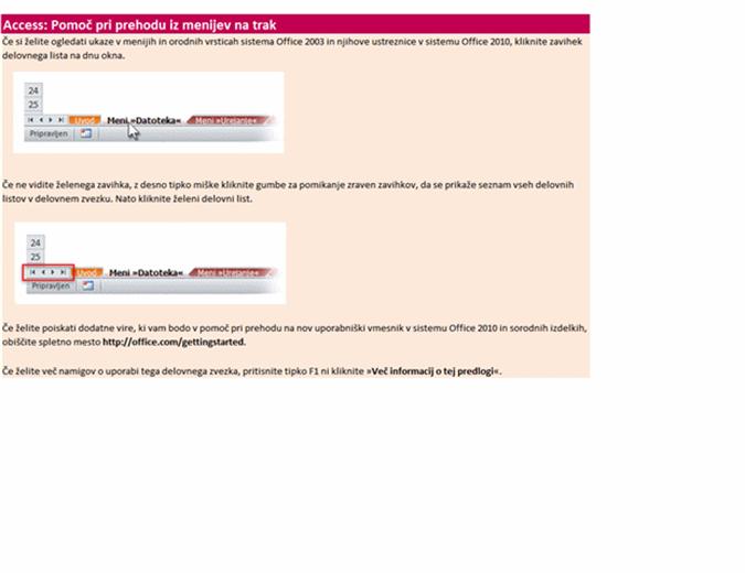Access 2010: Delovni zvezek, v katerem so navedena mesta starih menijskih ukazov na traku