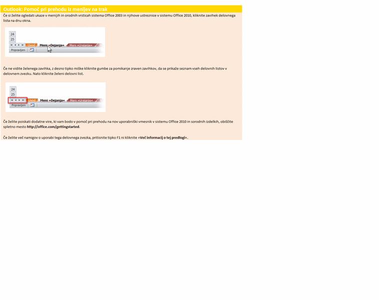 Outlook 2010: Delovni zvezek za pomoč pri preklopi iz menijev na trak