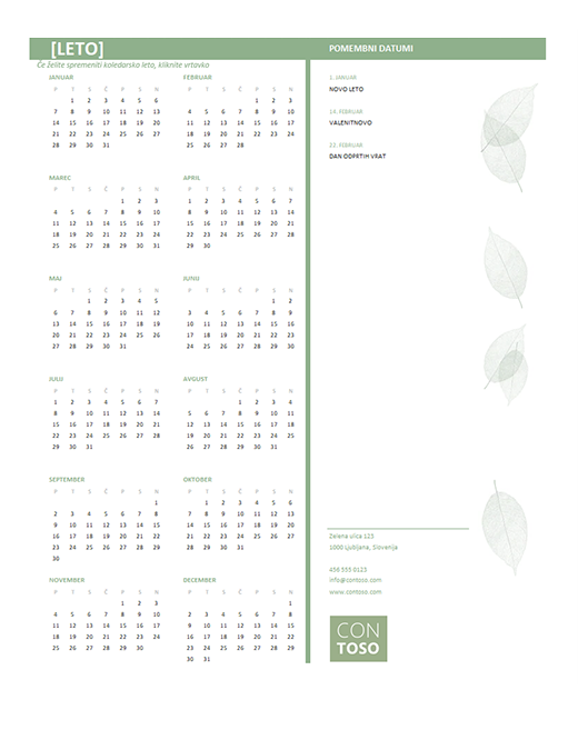 Majhen poslovni koledar (poljubno leto, pon.–ned.)