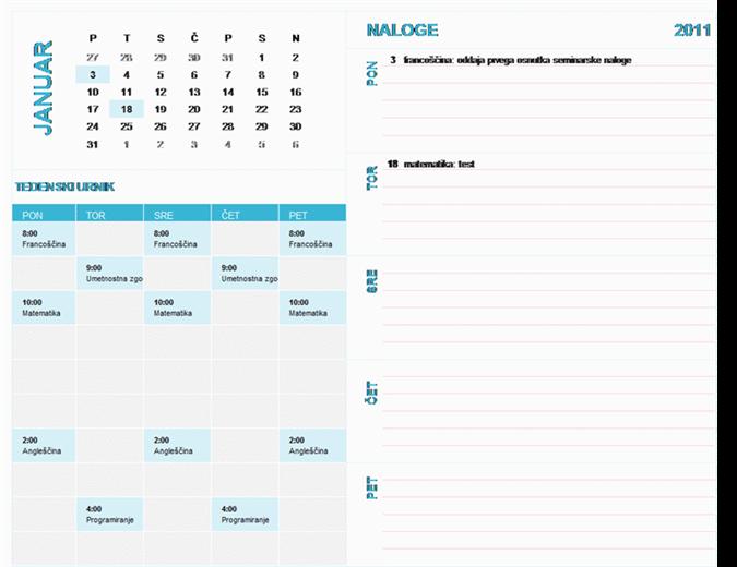 Študentski tedenski koledar za načrtovanje (poljubno leto, pon-ned)