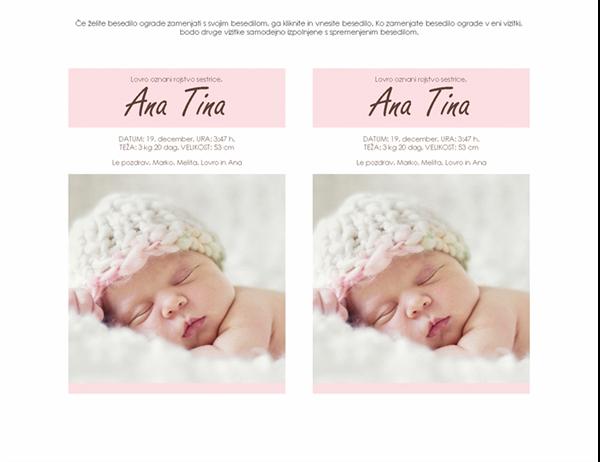 Oznanilo rojstva deklice