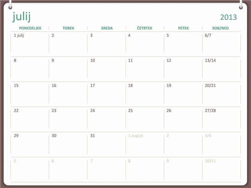 Študijski koledar 2013-2014 (julij)
