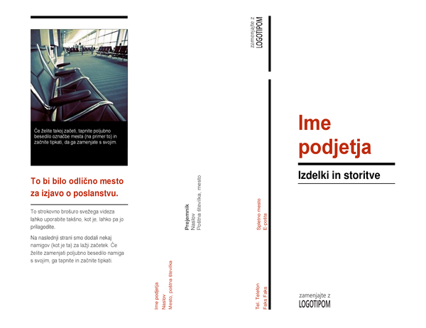 Tridelna brošura (Rdeče in črno)