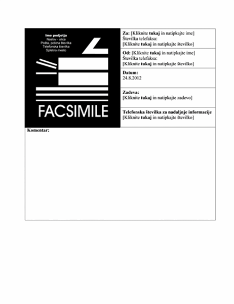 Naslovnica poslovnega faksa