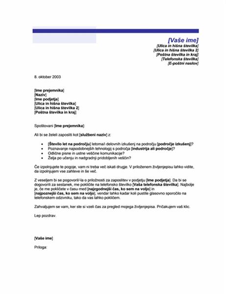 Naslovna stran za nezaprošen življenjepis (motiv modre črte)