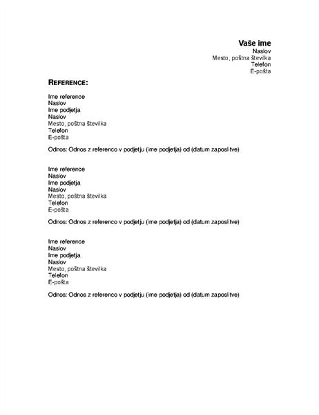 Reference (v življenjepisu)