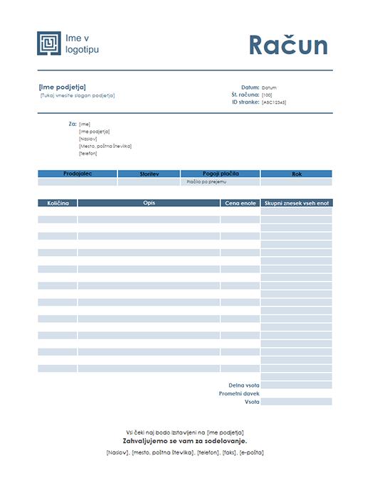 Faktura za storitev (načrt Preprosto modro)