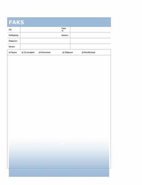 Naslovnica faksa (moder preliv)
