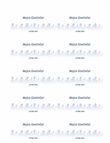 Kartice z imeni za nove diplomante