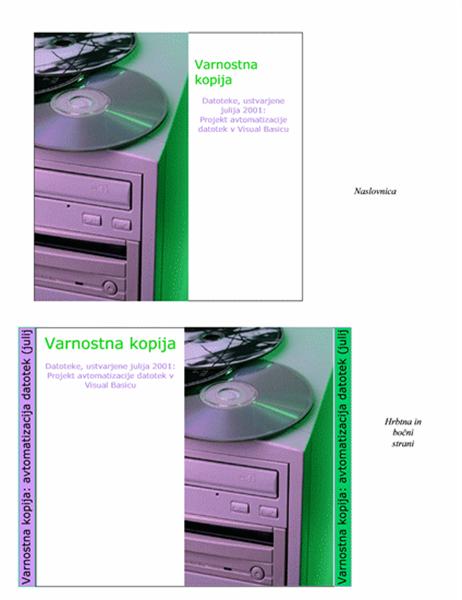 Ovitek CD-ja z varnostnimi kopijami