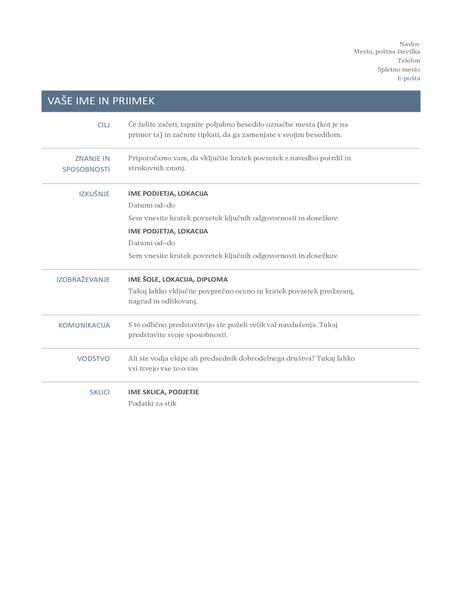 Življenjepis (večen načrt)