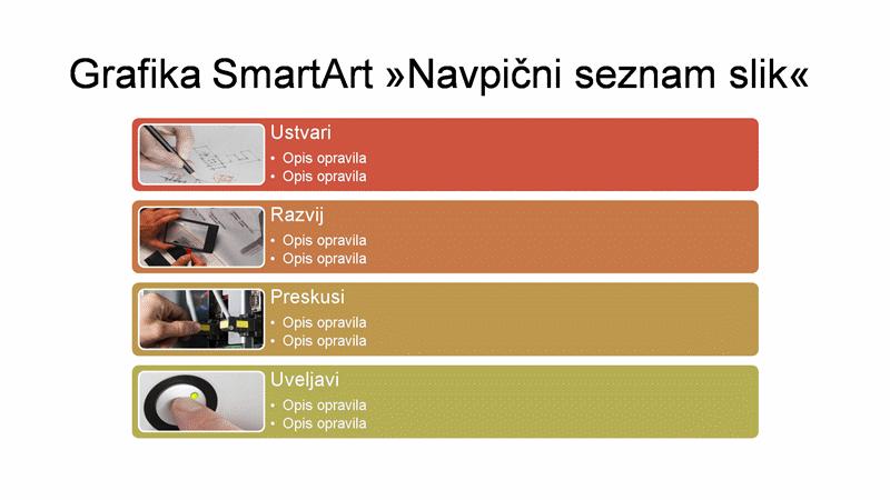 Diapozitiv z grafiko SmartArt »Navpični seznam slik« (večbarvno na beli podlagi), širokozaslonska predstavitev