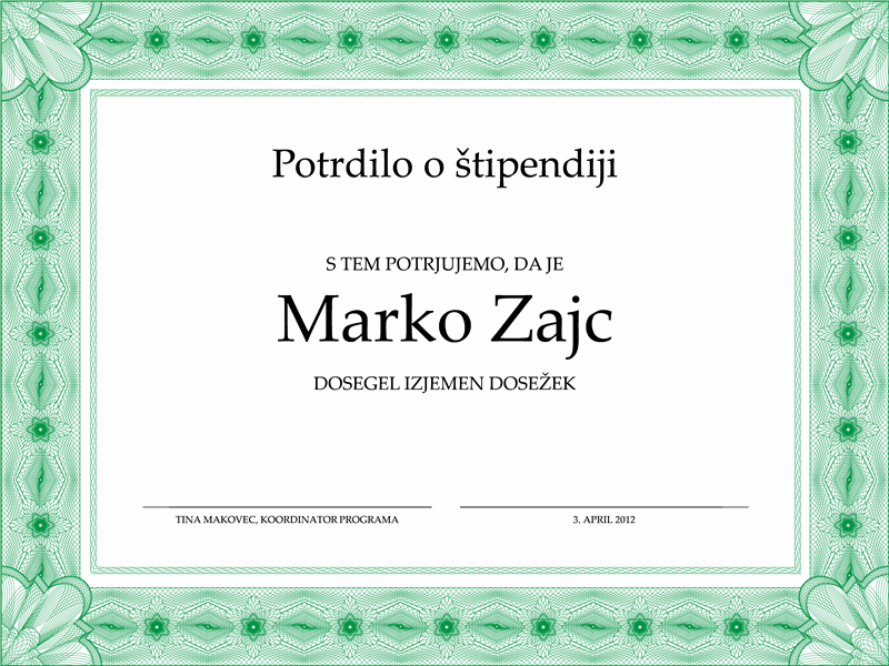 Potrdilo o štipendiji (formalna zelena obroba)