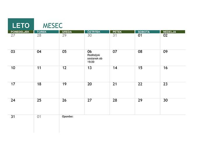 Šolski koledar (poljubno leto)