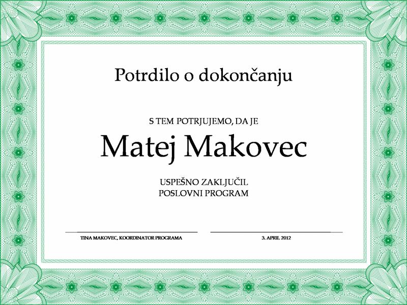Potrdilo o dokončanju (zeleno)