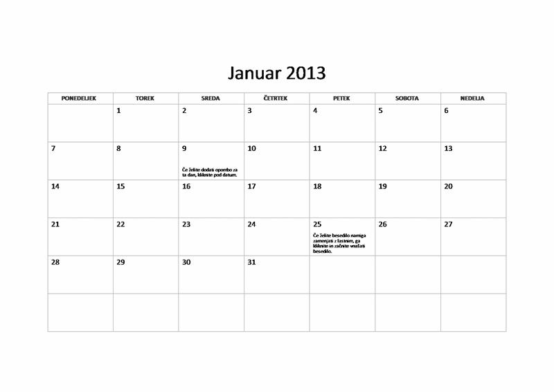 Osnoven koledar za leto 2013 (P-N)