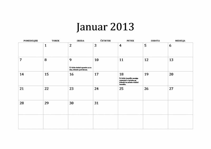 Klasičen koledar za leto 2013 (P-N)
