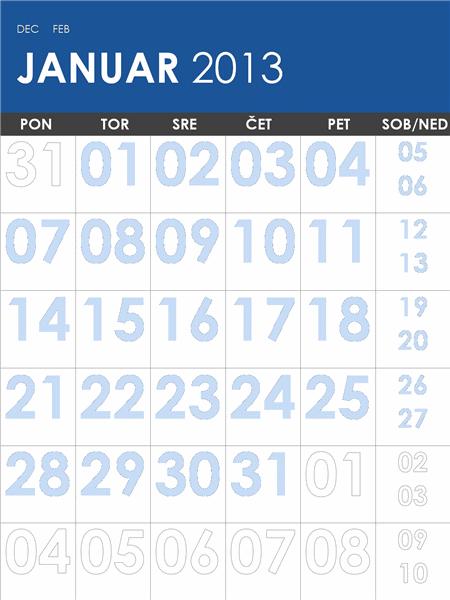 Koledar za leti 2013/2014, večbarven (P–Ned)