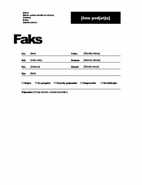 Naslovna stran faksa