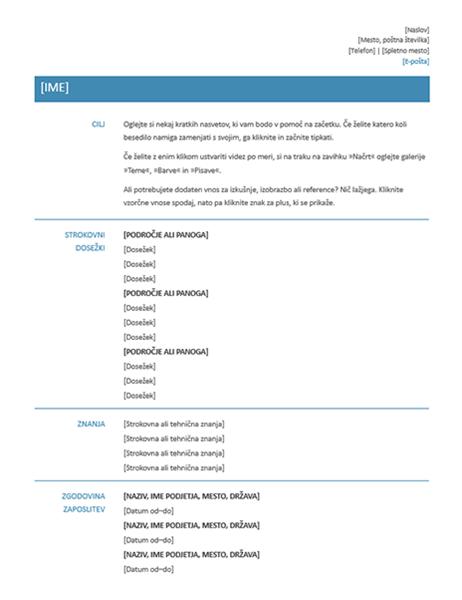 Funkcionalni življenjepis (preprost načrt)