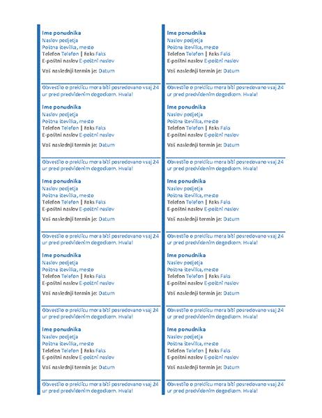 Kartice za dogovorjene termine (10 na stran)