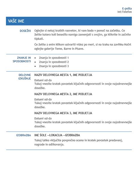 Življenjepis za premestitev na novo delovno mesto znotraj podjetja