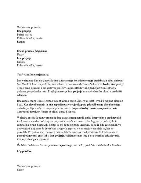 Priporočilno pismo za strokovnega delavca