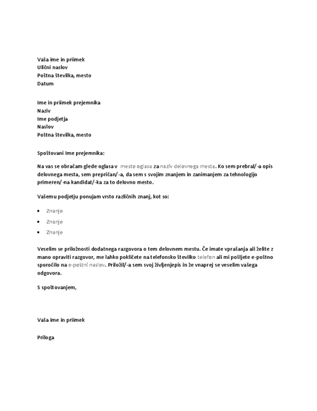 Vzorčno spremno pismo kot odgovor na oglas za tehnični položaj