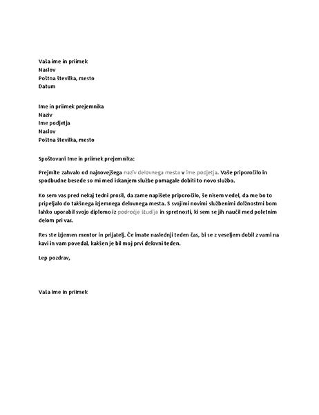 Zahvalno pismo za uspešno poslovno referenco od prejšnjega šefa