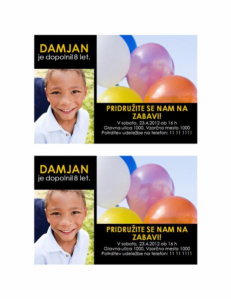 Povabilo na zabavo (rumena predloga na črnem ozadju z 2 fotografijama)