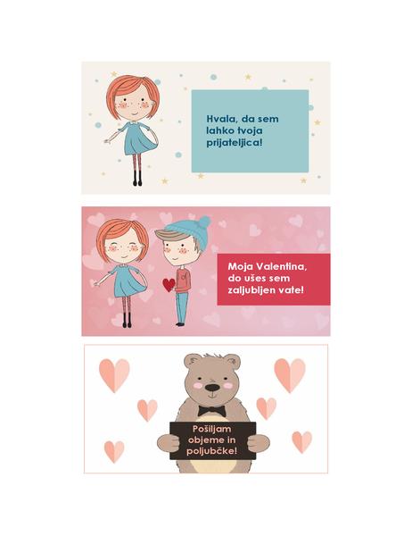 Voščilnice za valentinovo za otroke (12 motivov, 3 na stran)