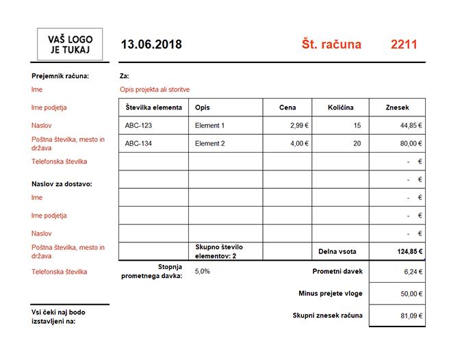Račun s samodejnim izračunom skupnega zneska (ležeče)