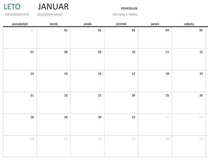 Enomesečni koledar za katero koli leto