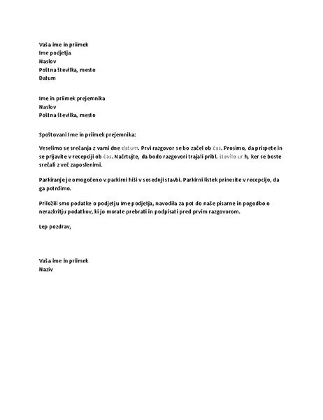 Pismo s potrditvijo kandidatovega razgovora za službo