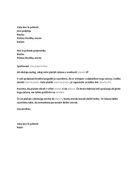Zahtevek za plačilo zapadlega računa