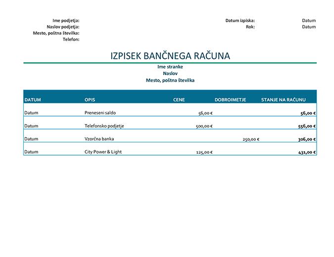Izpisek bančnega računa