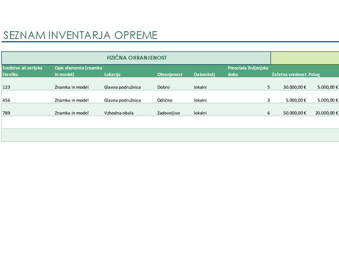 Seznam inventarja opreme