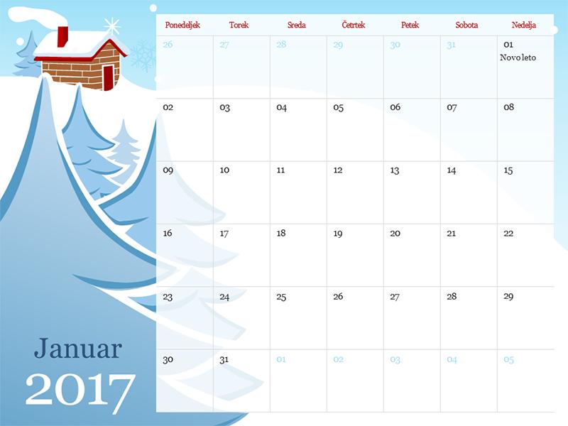 Ilustriran koledar za leto 2017 z letnimi časi (pon–ned)