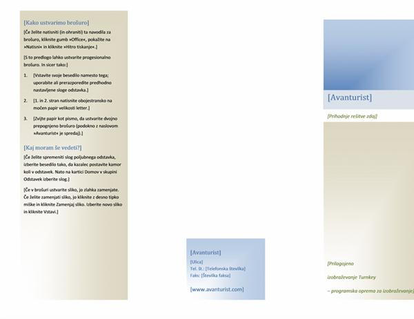 Brošura (8 1/2 x 11, ležeča, prepognjena)